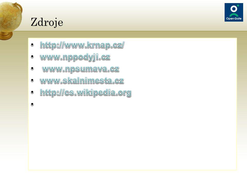 Zdroje http://www.krnap.cz/ www.nppodyji.cz www.npsumava.cz