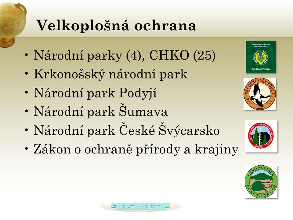 Velkoplošná ochrana Národní parky (4), CHKO (25)