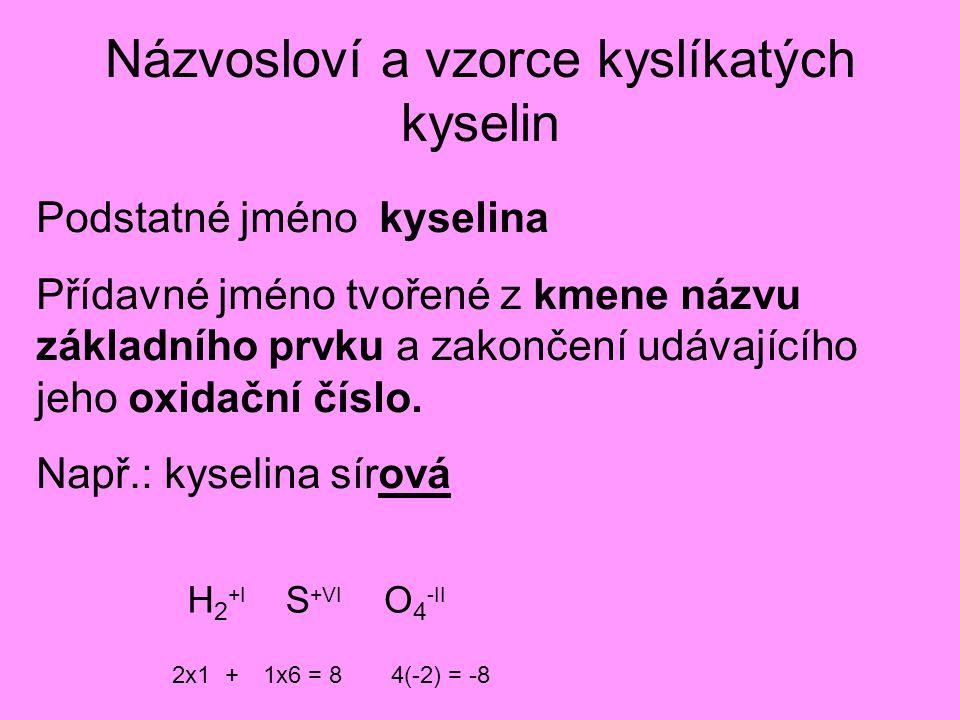 Názvosloví a vzorce kyslíkatých kyselin