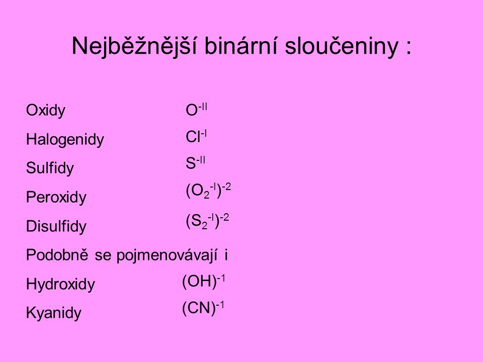 Nejběžnější binární sloučeniny :