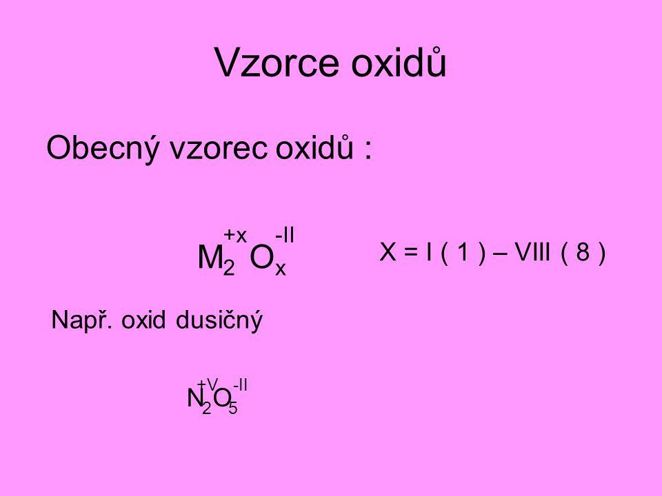 Vzorce oxidů Obecný vzorec oxidů : +x -II M O 2 x