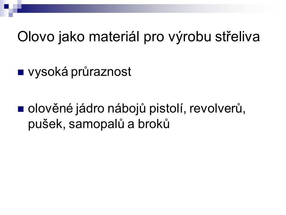 Olovo jako materiál pro výrobu střeliva