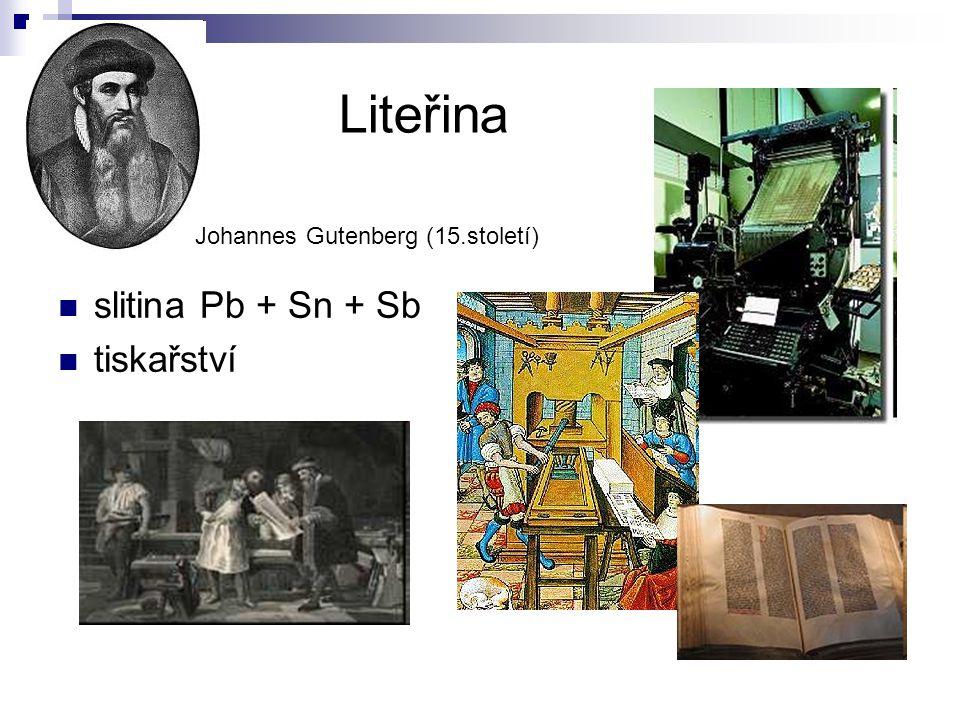 Liteřina slitina Pb + Sn + Sb tiskařství
