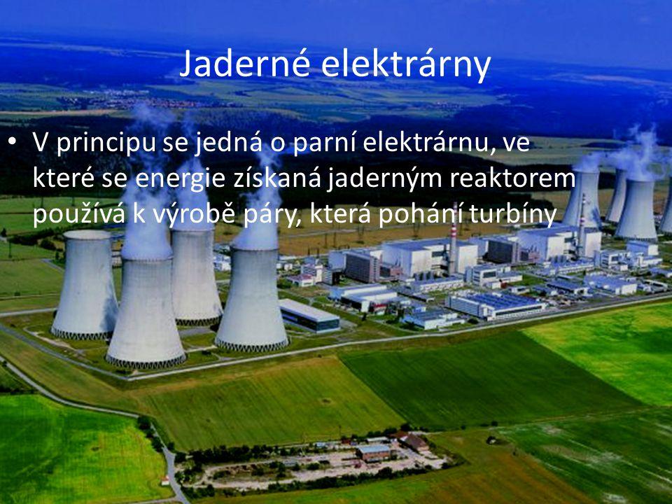 Jaderné elektrárny V principu se jedná o parní elektrárnu, ve které se energie získaná jaderným reaktorem používá k výrobě páry, která pohání turbíny.