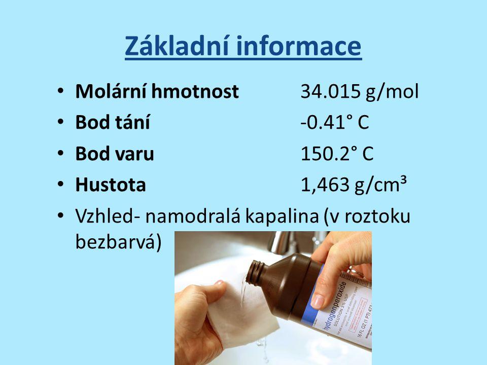 Základní informace Molární hmotnost 34.015 g/mol Bod tání -0.41° C