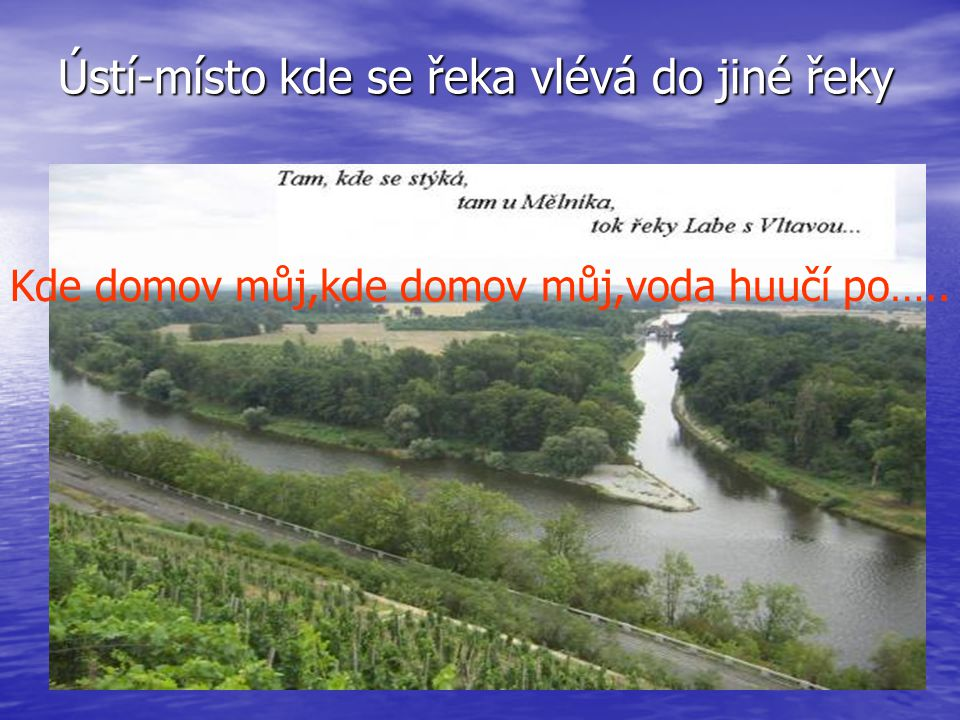Ústí-místo kde se řeka vlévá do jiné řeky
