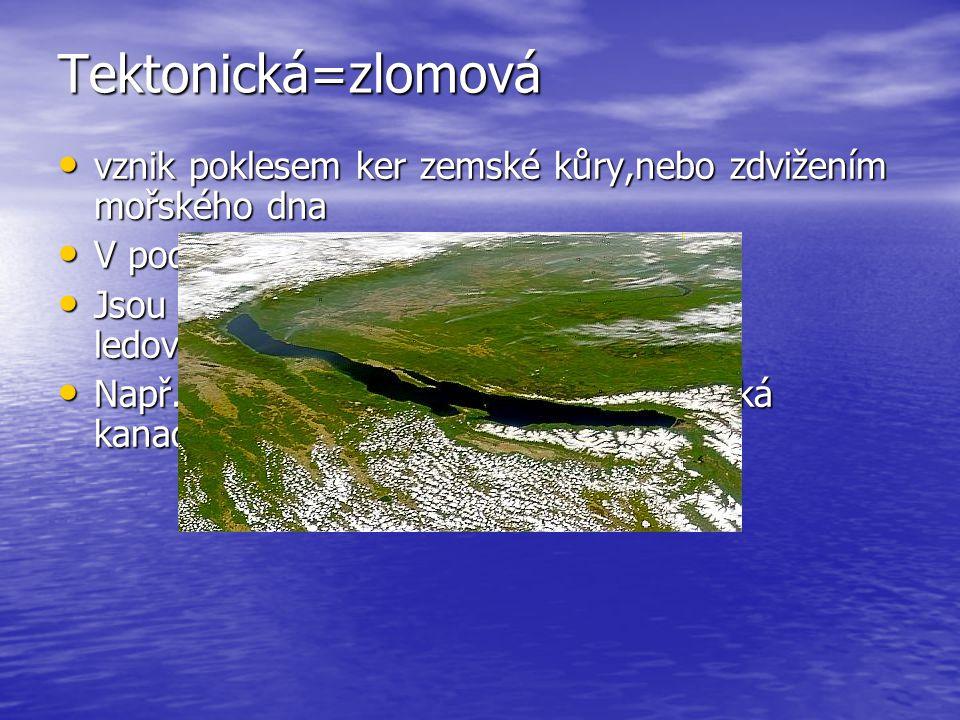 Tektonická=zlomová vznik poklesem ker zemské kůry,nebo zdvižením mořského dna. V podstatě příkopové propadliny:-P.