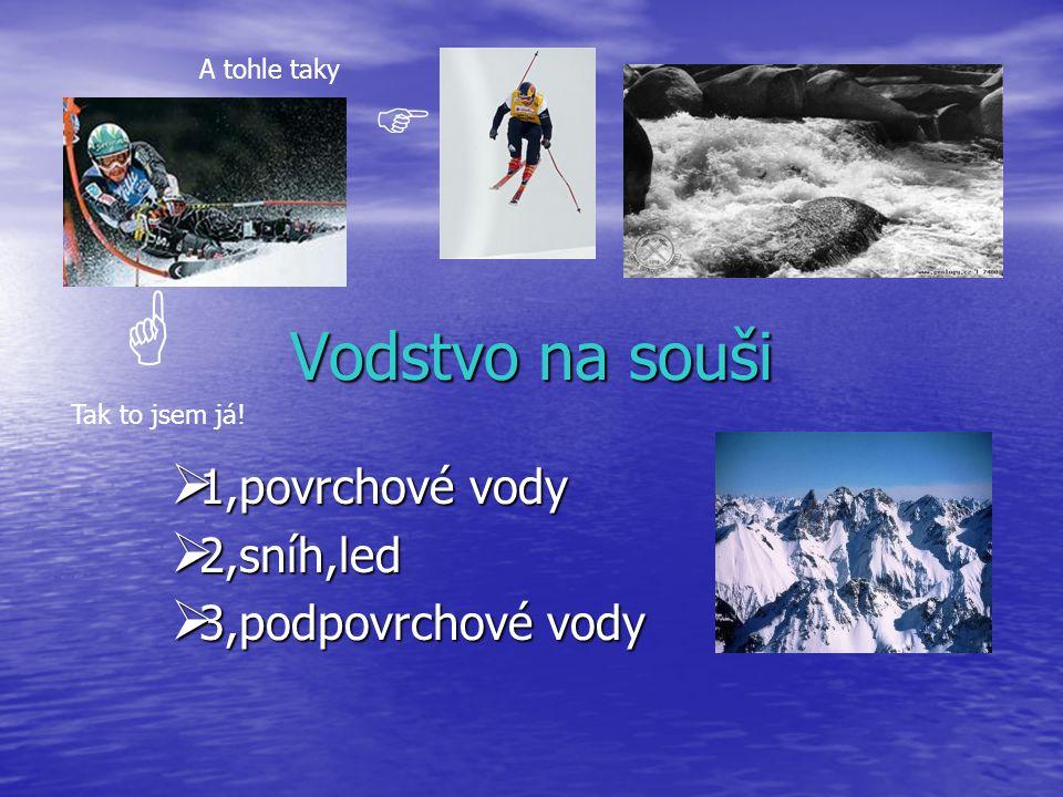 1,povrchové vody 2,sníh,led 3,podpovrchové vody