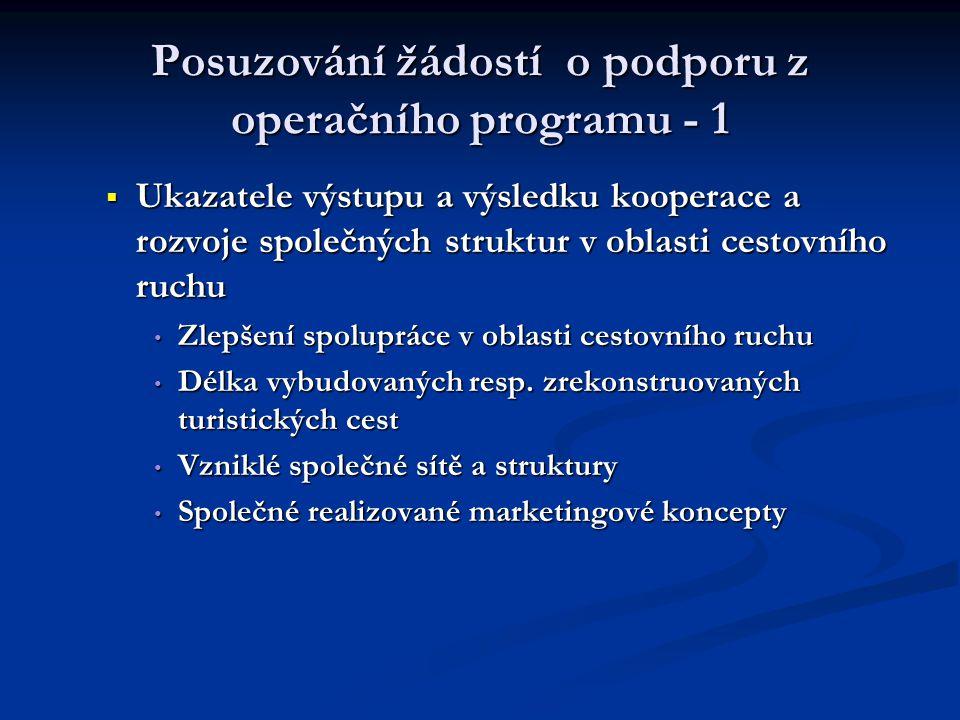 Posuzování žádostí o podporu z operačního programu - 1