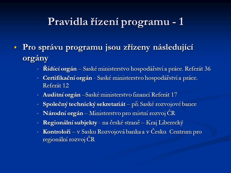 Pravidla řízení programu - 1