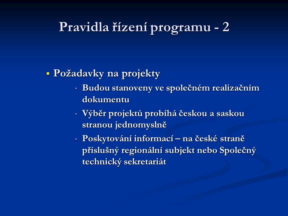 Pravidla řízení programu - 2