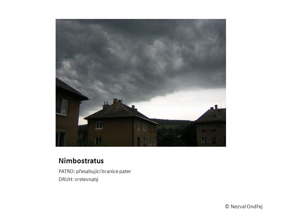 Nimbostratus PATRO: přesahující hranice pater DRUH: vrstevnatý