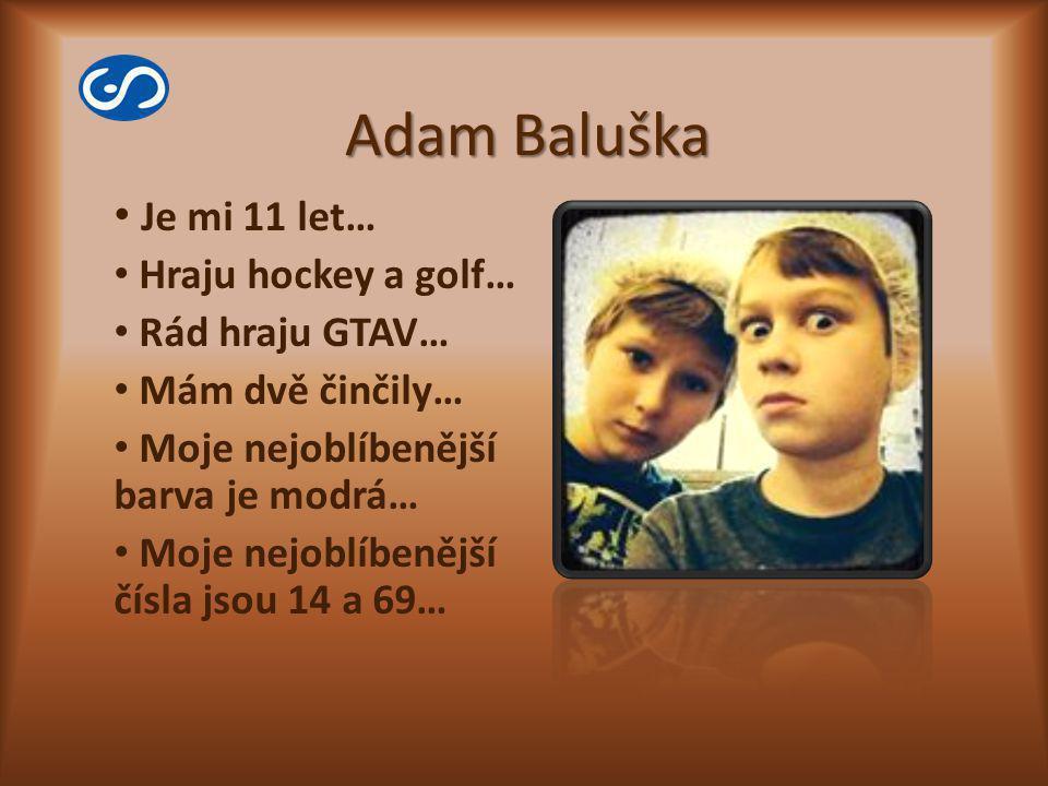Adam Baluška Je mi 11 let… Hraju hockey a golf… Rád hraju GTAV…