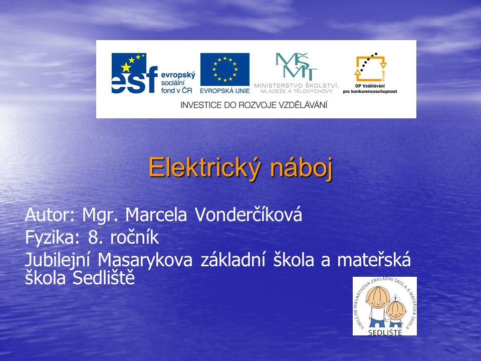 Elektrický náboj Autor: Mgr. Marcela Vonderčíková Fyzika: 8. ročník
