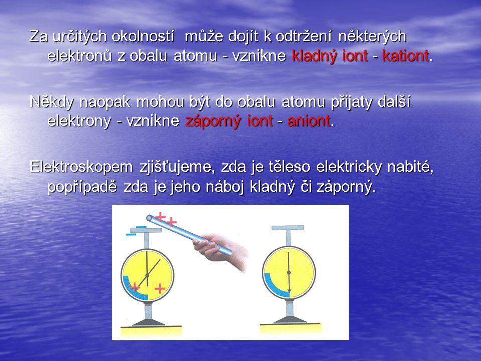 Za určitých okolností může dojít k odtržení některých elektronů z obalu atomu - vznikne kladný iont - kationt.