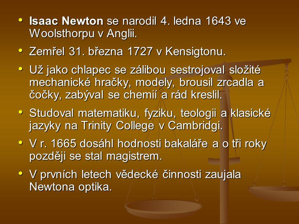 Isaac Newton se narodil 4. ledna 1643 ve Woolsthorpu v Anglii.