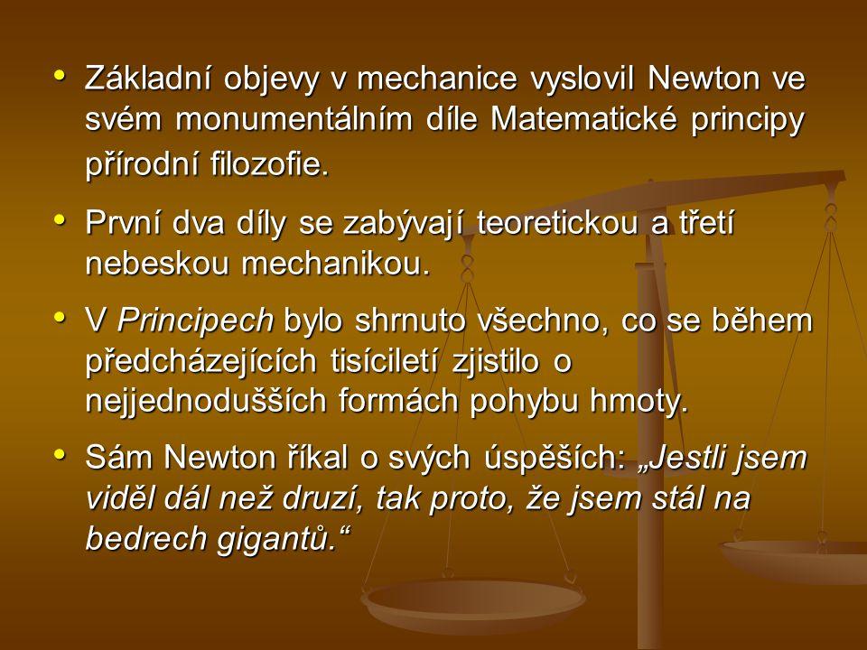 Základní objevy v mechanice vyslovil Newton ve svém monumentálním díle Matematické principy přírodní filozofie.