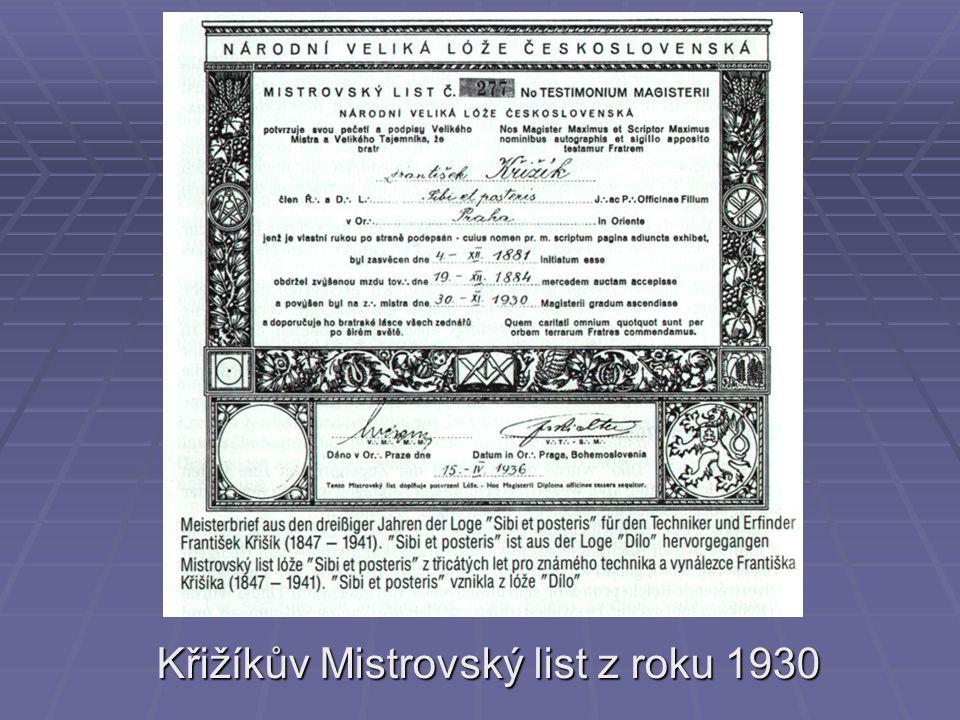 Křižíkův Mistrovský list z roku 1930