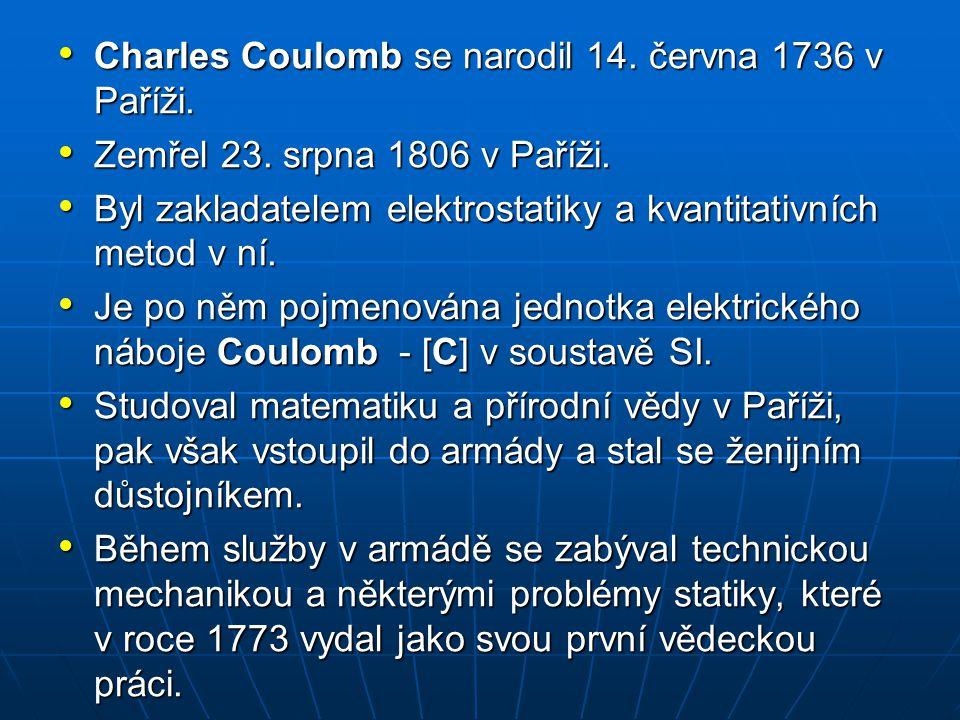 Charles Coulomb se narodil 14. června 1736 v Paříži.
