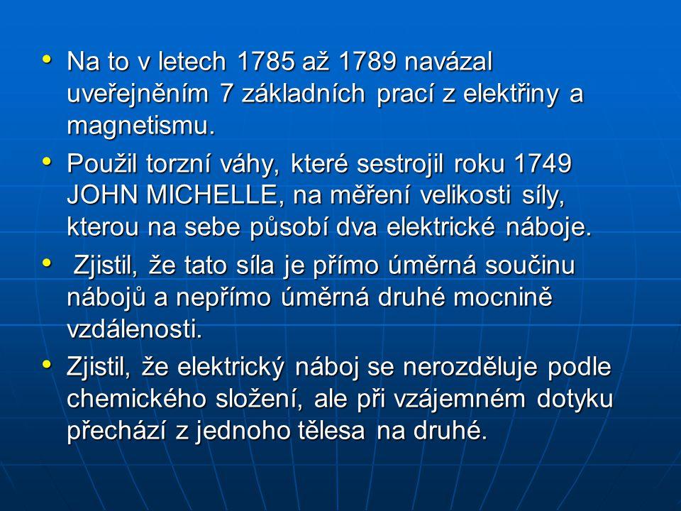 Na to v letech 1785 až 1789 navázal uveřejněním 7 základních prací z elektřiny a magnetismu.