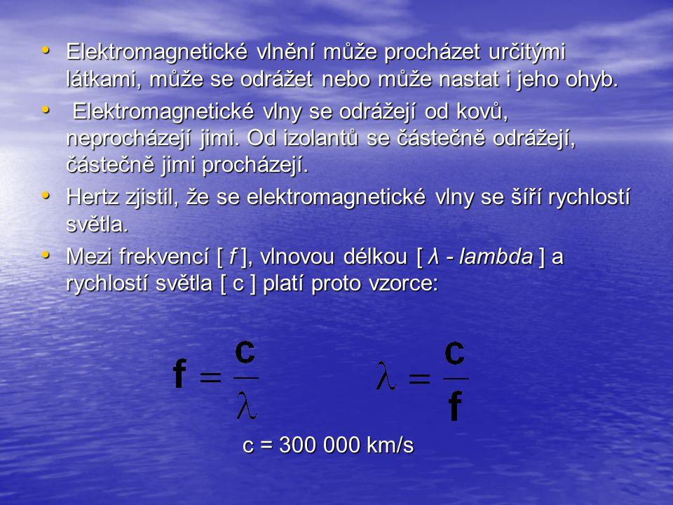 Elektromagnetické vlnění může procházet určitými látkami, může se odrážet nebo může nastat i jeho ohyb.