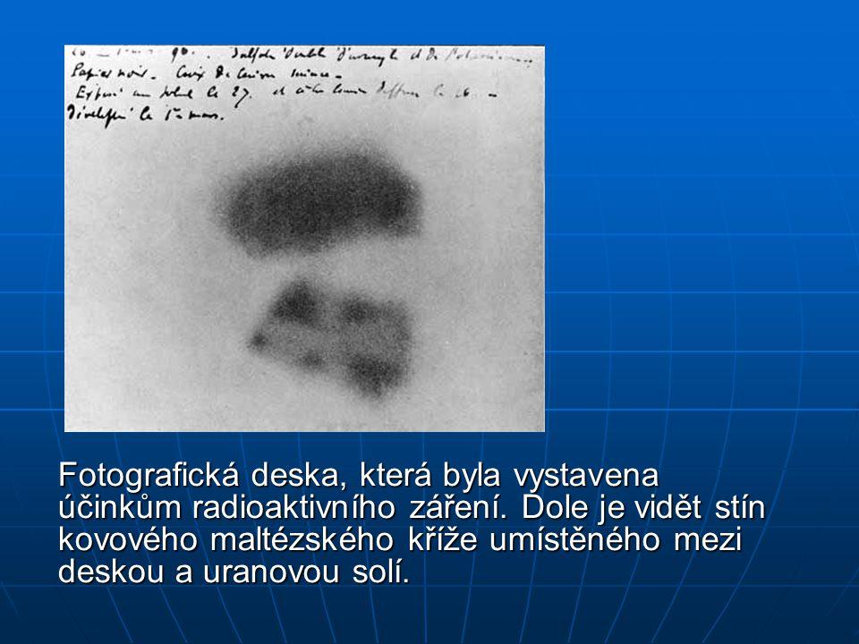 Fotografická deska, která byla vystavena účinkům radioaktivního záření