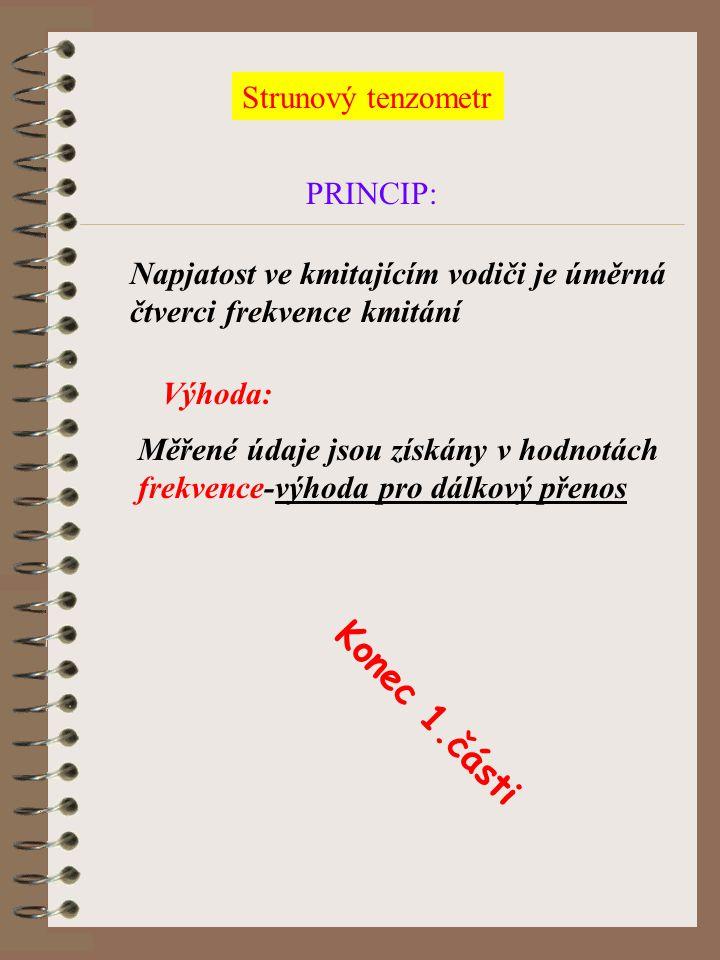Konec 1.části Strunový tenzometr PRINCIP: