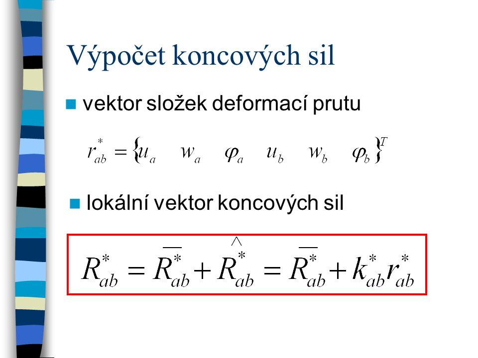 Výpočet koncových sil vektor složek deformací prutu