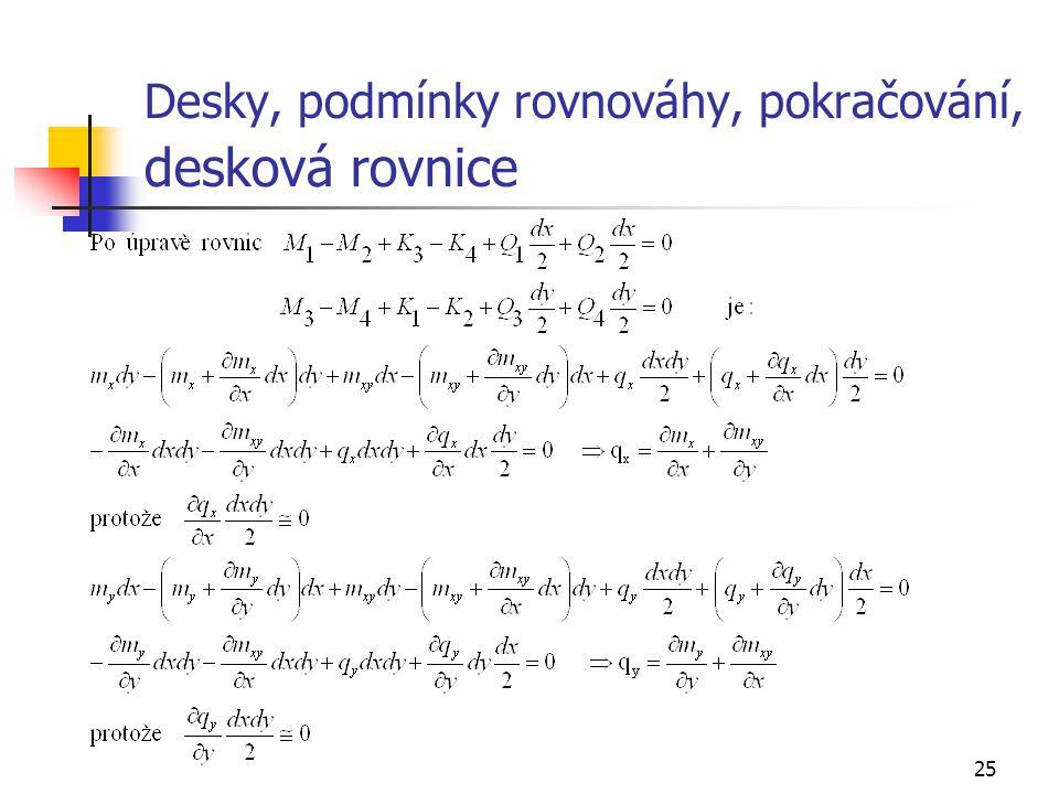 Desky, podmínky rovnováhy, pokračování, desková rovnice