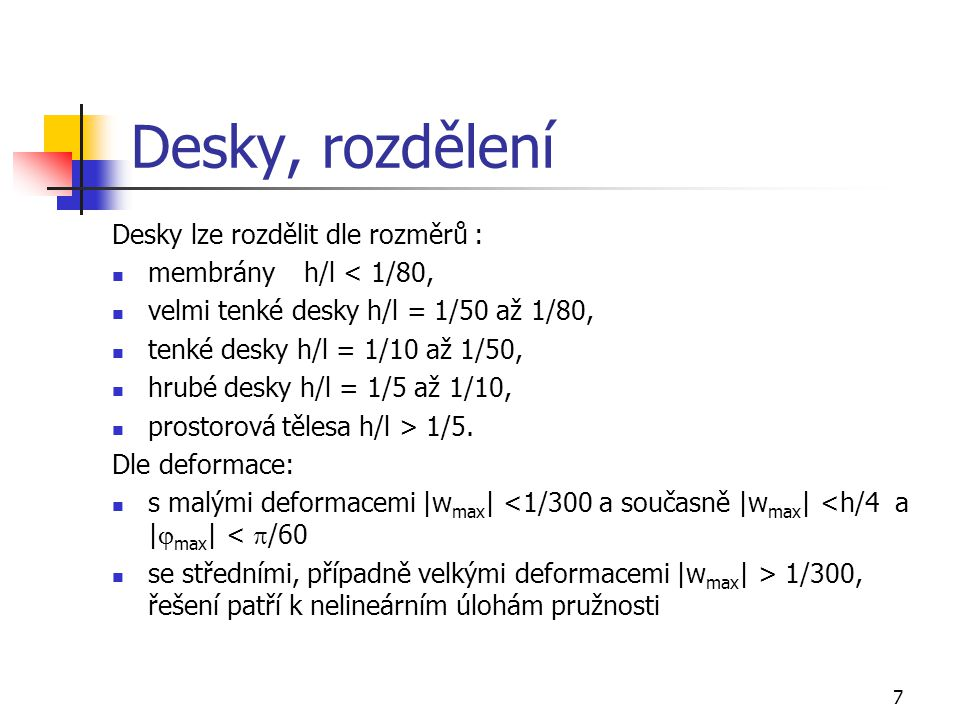 Desky, rozdělení Desky lze rozdělit dle rozměrů :