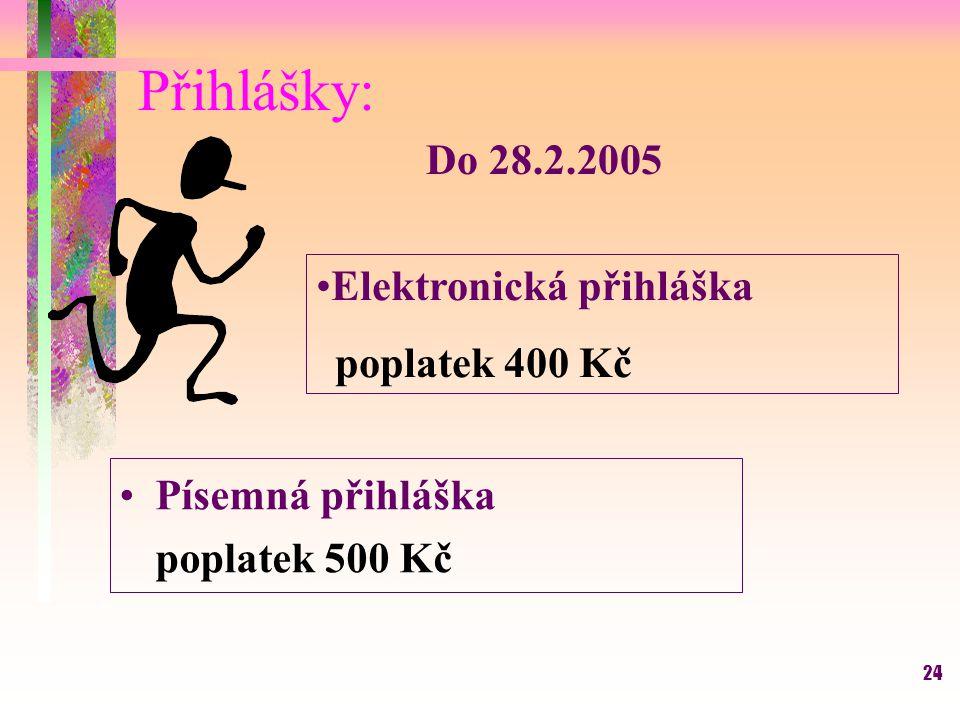 Přihlášky: Do 28.2.2005 Elektronická přihláška Písemná přihláška