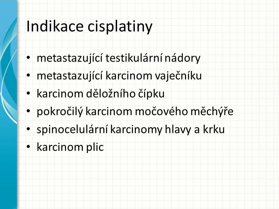 Indikace cisplatiny metastazující testikulární nádory