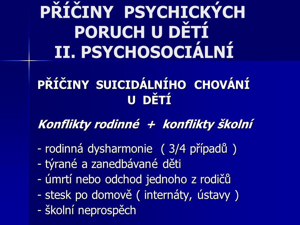 PŘÍČINY PSYCHICKÝCH PORUCH U DĚTÍ II. PSYCHOSOCIÁLNÍ