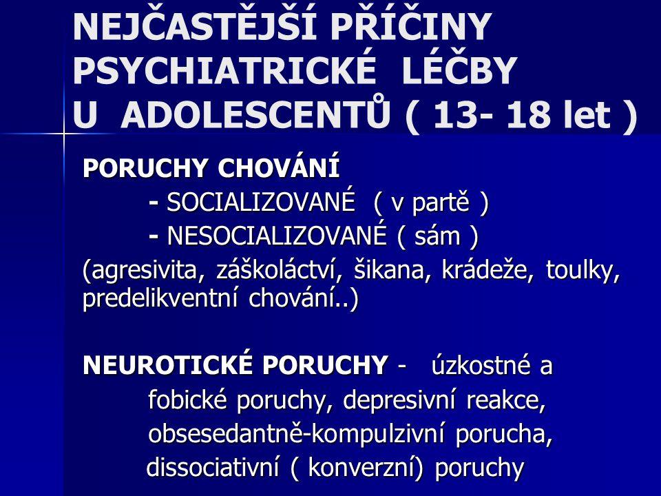 NEJČASTĚJŠÍ PŘÍČINY PSYCHIATRICKÉ LÉČBY U ADOLESCENTŮ ( 13- 18 let )
