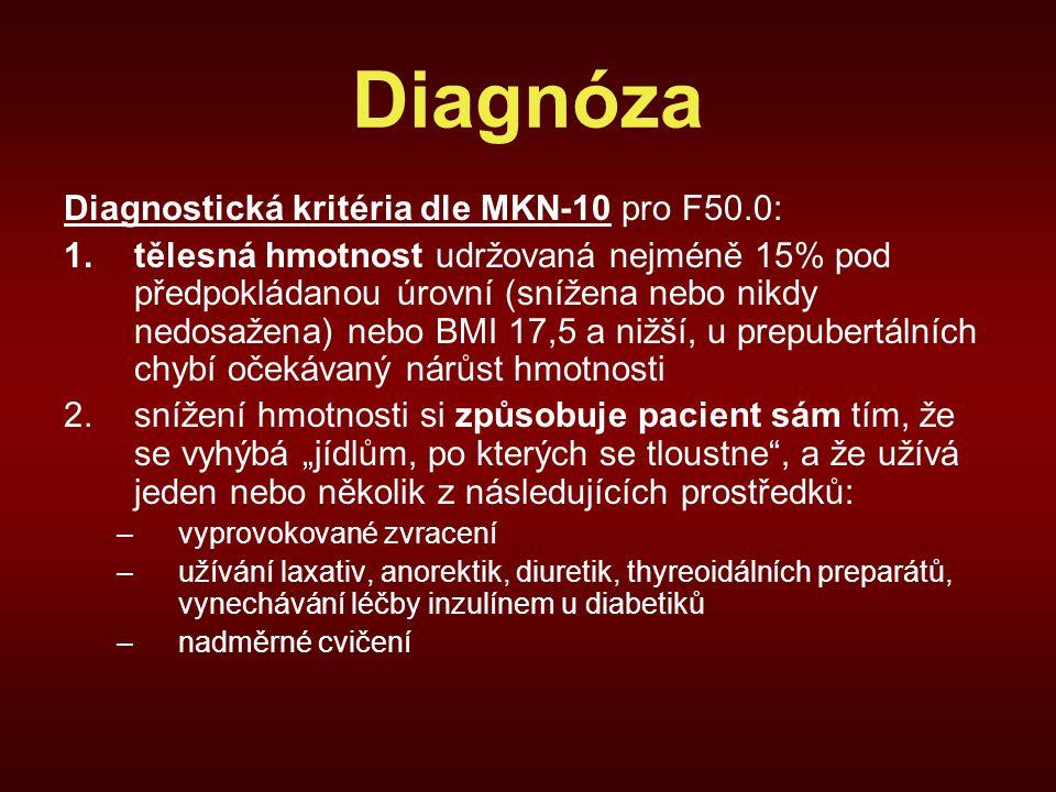 Diagnóza Diagnostická kritéria dle MKN-10 pro F50.0:
