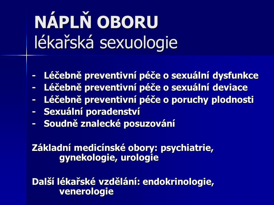 NÁPLŇ OBORU lékařská sexuologie