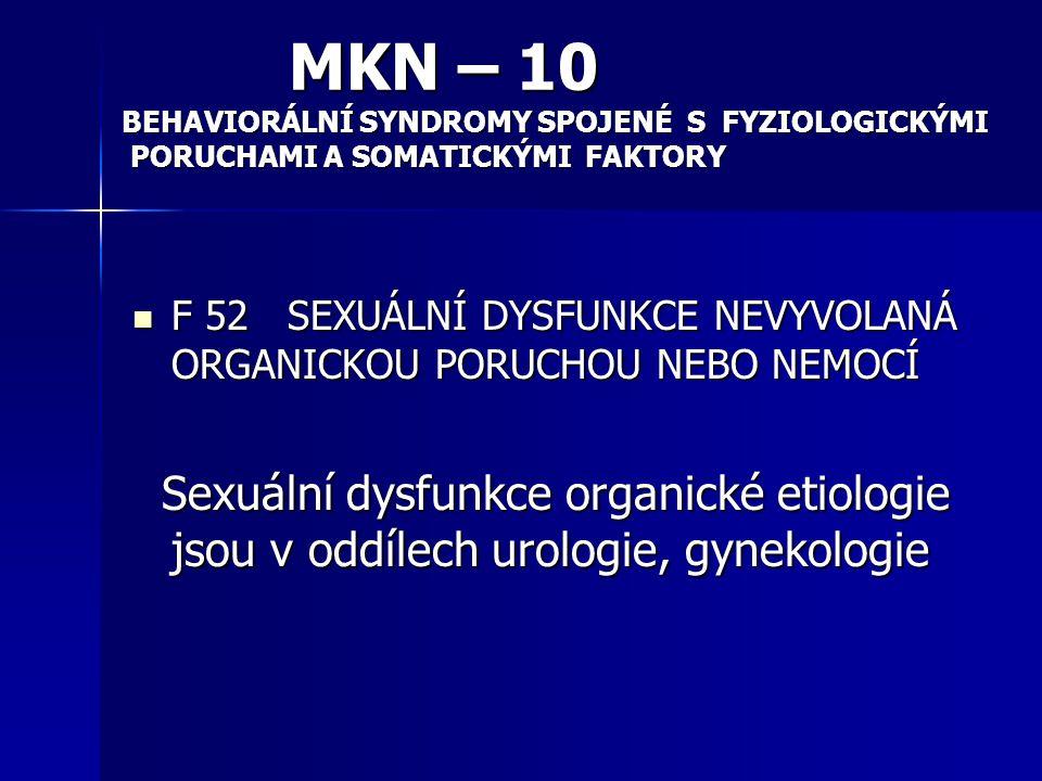 MKN – 10 BEHAVIORÁLNÍ SYNDROMY SPOJENÉ S FYZIOLOGICKÝMI. PORUCHAMI A SOMATICKÝMI FAKTORY.