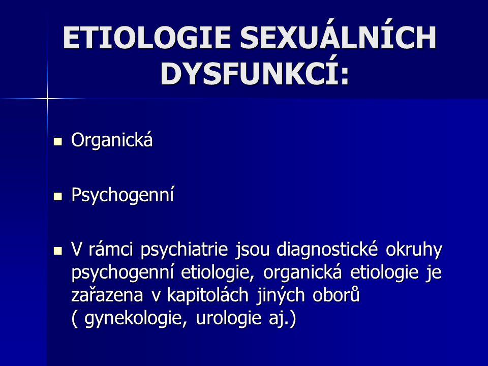 ETIOLOGIE SEXUÁLNÍCH DYSFUNKCÍ: