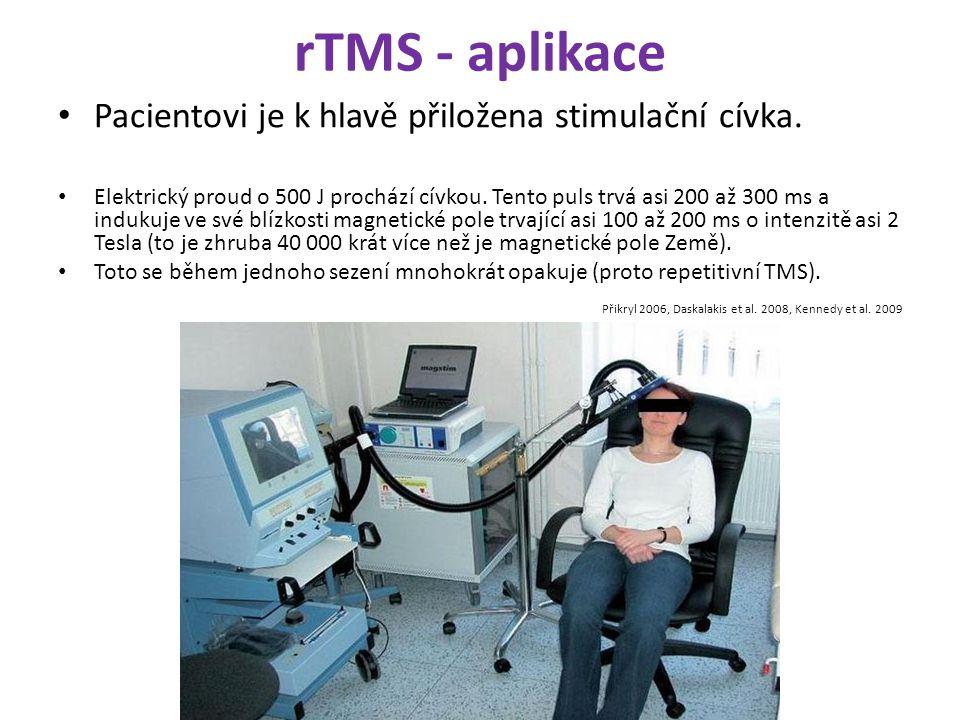 rTMS - aplikace Pacientovi je k hlavě přiložena stimulační cívka.