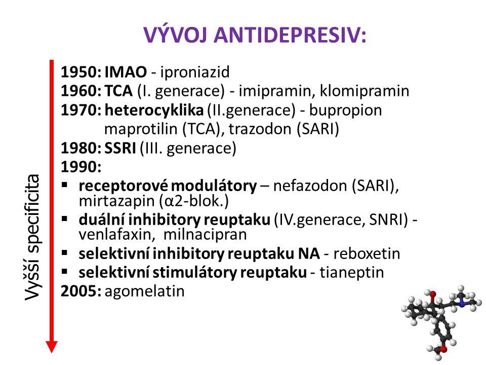VÝVOJ ANTIDEPRESIV: Vyšší specificita 1950: IMAO - iproniazid