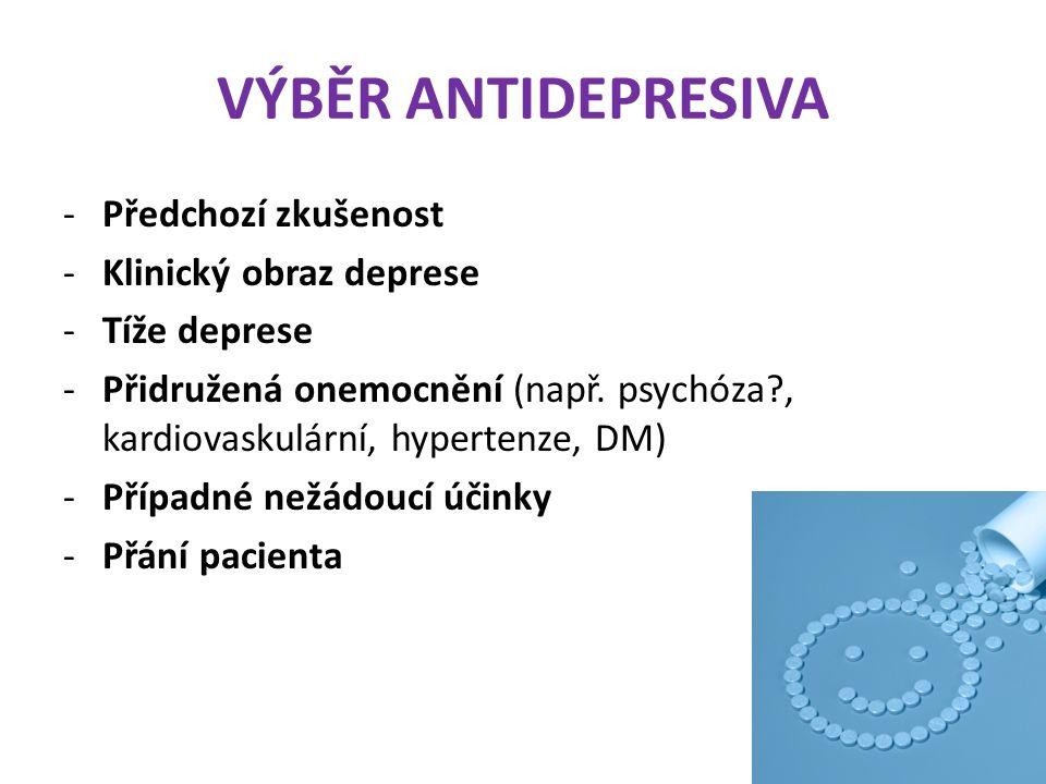 VÝBĚR ANTIDEPRESIVA Předchozí zkušenost Klinický obraz deprese