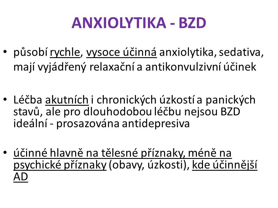 ANXIOLYTIKA - BZD působí rychle, vysoce účinná anxiolytika, sedativa, mají vyjádřený relaxační a antikonvulzivní účinek.