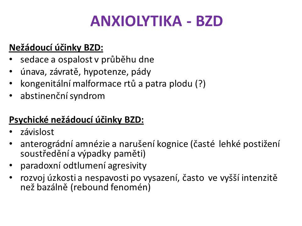 ANXIOLYTIKA - BZD Nežádoucí účinky BZD: