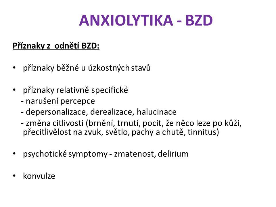 ANXIOLYTIKA - BZD Příznaky z odnětí BZD: