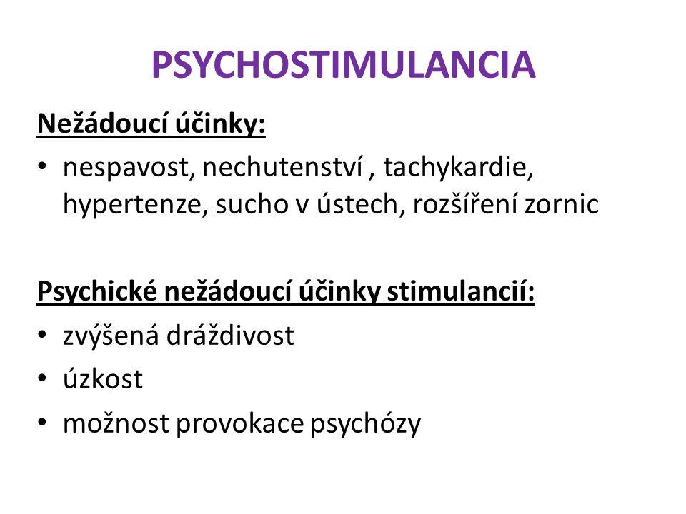 PSYCHOSTIMULANCIA Nežádoucí účinky: