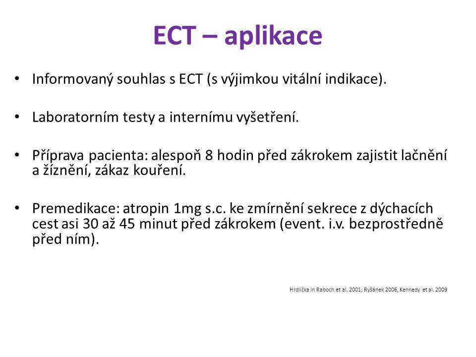 ECT – aplikace Informovaný souhlas s ECT (s výjimkou vitální indikace). Laboratorním testy a internímu vyšetření.