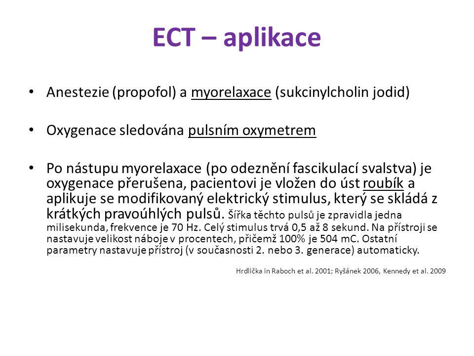 ECT – aplikace Anestezie (propofol) a myorelaxace (sukcinylcholin jodid) Oxygenace sledována pulsním oxymetrem.