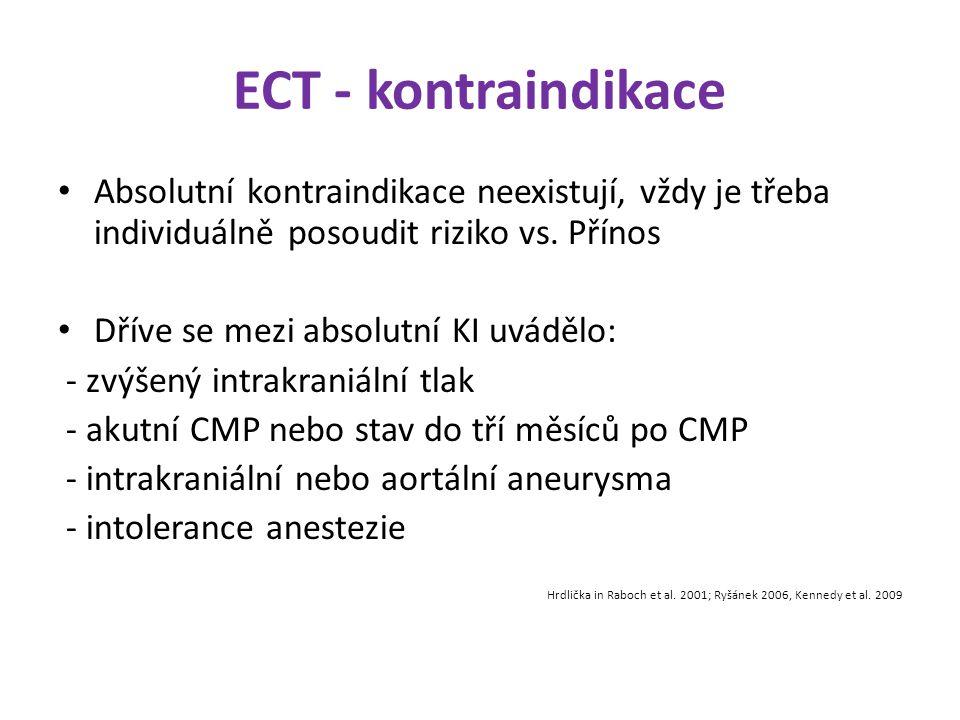 ECT - kontraindikace Absolutní kontraindikace neexistují, vždy je třeba individuálně posoudit riziko vs. Přínos.