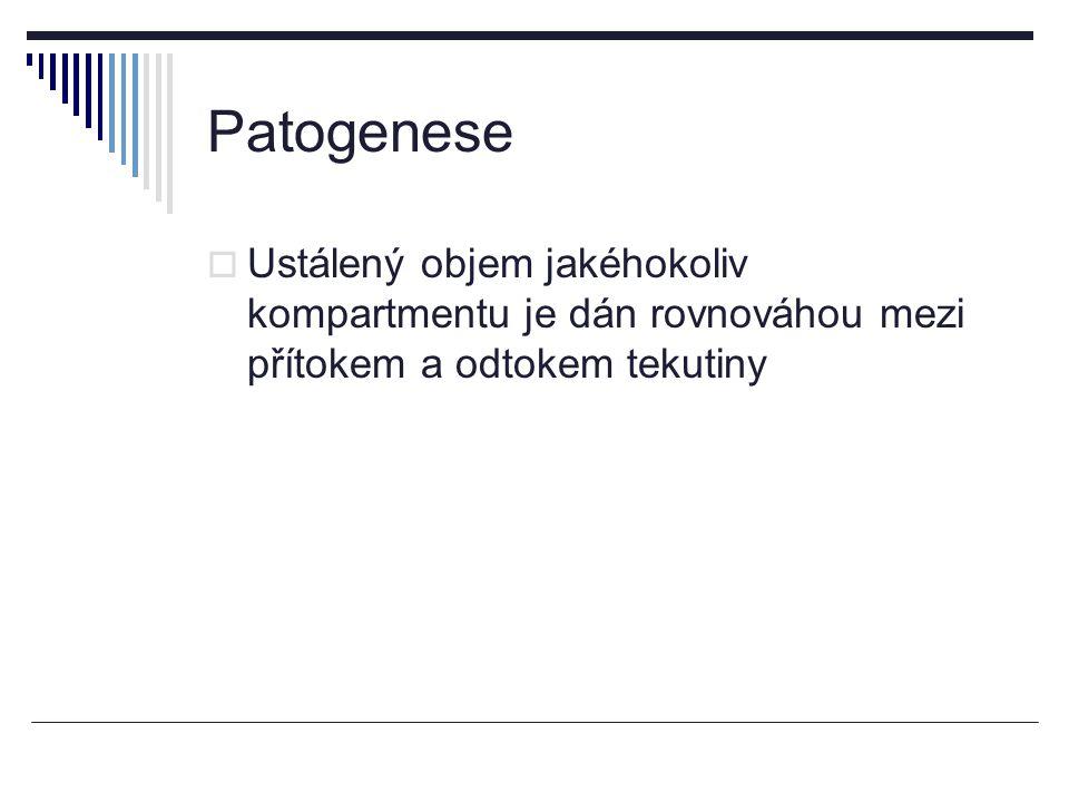 Patogenese Ustálený objem jakéhokoliv kompartmentu je dán rovnováhou mezi přítokem a odtokem tekutiny.