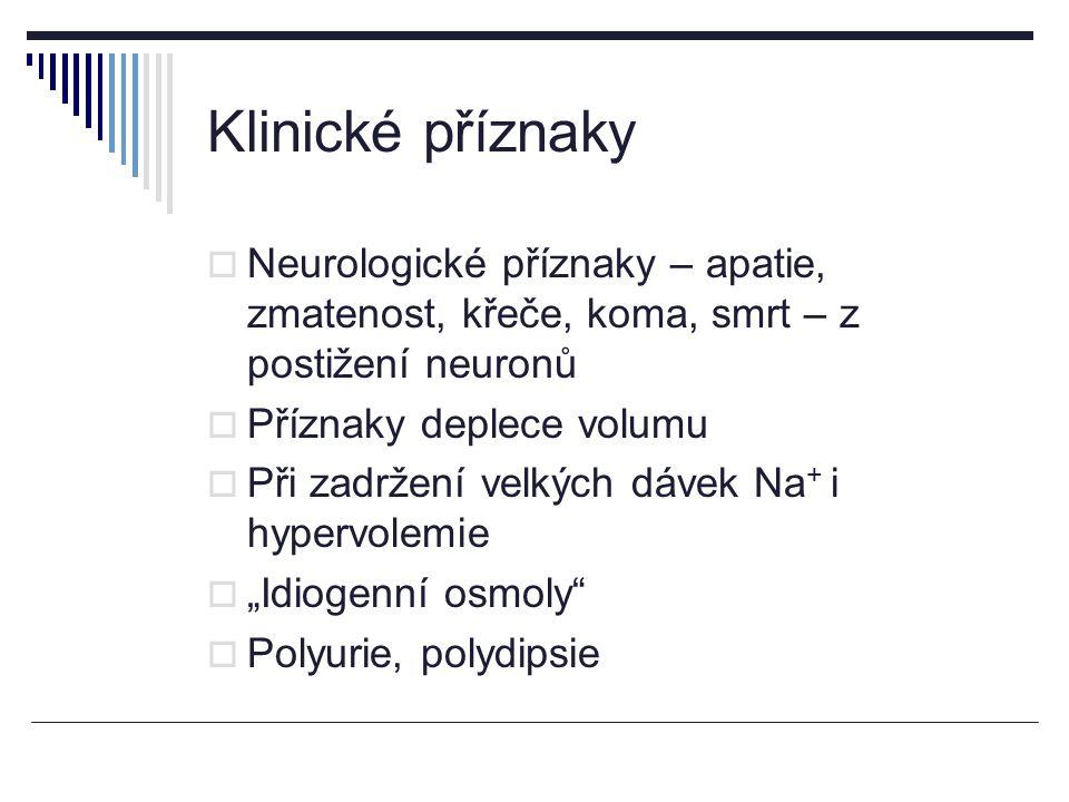 Klinické příznaky Neurologické příznaky – apatie, zmatenost, křeče, koma, smrt – z postižení neuronů.